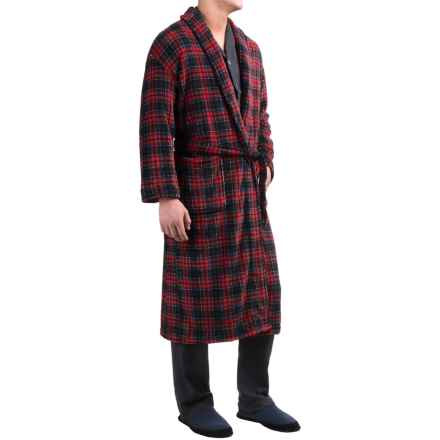 Majestic Plush Shawl Collar Robe - Long Sleeve (For Men) in Navy/Red Plaid - Closeouts