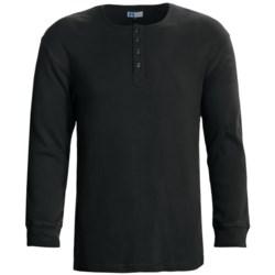 Majestic Sanded Cotton Henley Shirt - Long Sleeve (For Men) in Sprig
