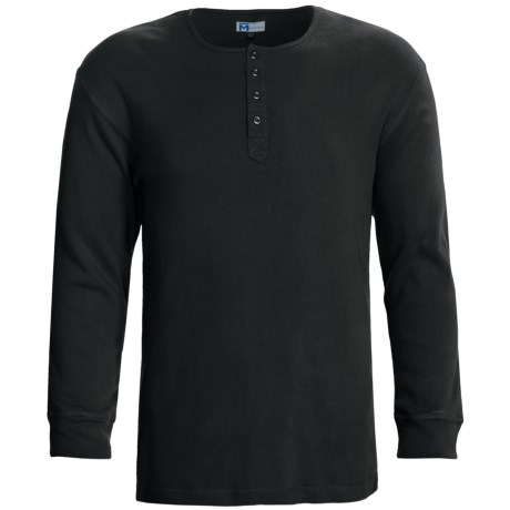 Majestic Sanded Cotton Henley Shirt - Long Sleeve (For Men) in Sprig