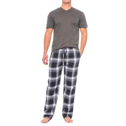Majestic Shirt and Pants Loungewear Set - Short Sleeve (For Men) in Navy Plaid - Closeouts