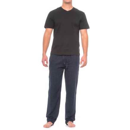 Majestic Shirt and Pants Loungewear Set - Short Sleeve (For Men) in Navy Squares - Closeouts