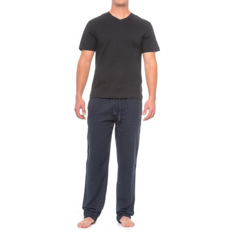 Majestic Shirt and Pants Loungewear Set - Short Sleeve (For Men) in Navy Squares