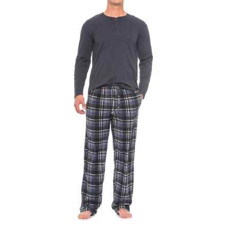 Majestic Solid Henley and Fleece Pajamas - Long Sleeve (For Men) in Blue Plaid - Closeouts