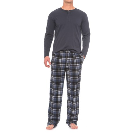 Majestic Solid Henley and Fleece Pajamas - Long Sleeve (For Men) in Blue Plaid
