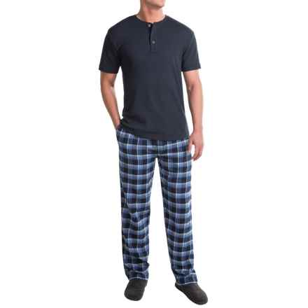 Majestic Thermal Henley and Pants Lounge Set - Short Sleeve (For Men) in Blue/Navy Plaid - Closeouts