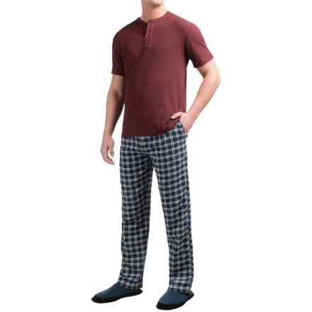 Majestic Thermal Henley and Pants Lounge Set - Short Sleeve (For Men) in Charcoal/Burgundy Plaid - Closeouts