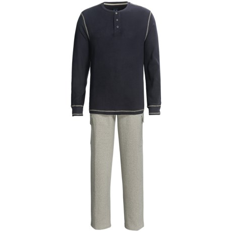 Majestic Thermal Henley Top and Cargo Lounge Pants Set - Cotton, 2-Piece, Long Sleeve (For Men) in Navy