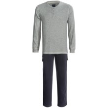 Majestic Thermal Henley Top and Cargo Lounge Pants Set - Cotton, 2-Piece, Long Sleeve (For Men) in Navy - Closeouts