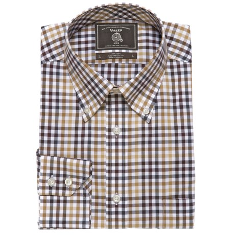 Maker & Company Oxford Check Sport Shirt - Long Sleeve (For Men) in Brown/Black/White