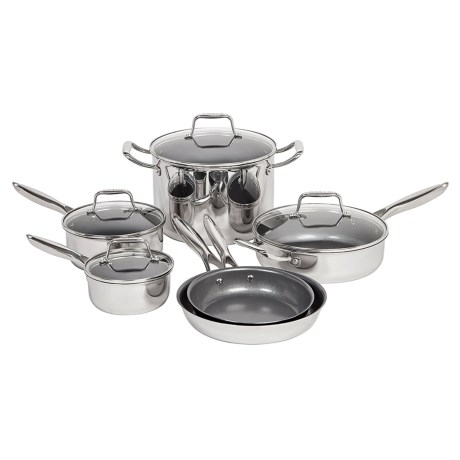 Maker Homeware Nonstick Stainless Steel Cookware Set - 10-Piece in Stainless Steal