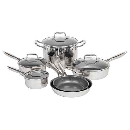 Maker Homeware Nonstick Stainless Steel Cookware Set - 10-Piece in Stainless Steel - Closeouts