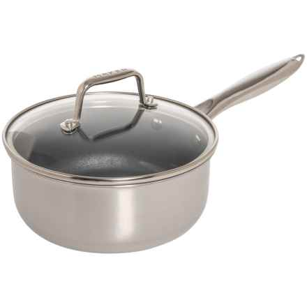 Maker Homeware Nonstick Stainless Steel Saucepan with Lid - 2 qt. in Stainless Steal - Closeouts