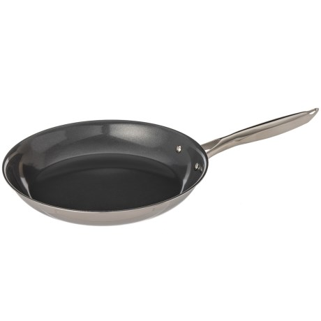 """Maker Homeware Nonstick Tri-ply Skillet - 12"""" in Stainless Steal"""