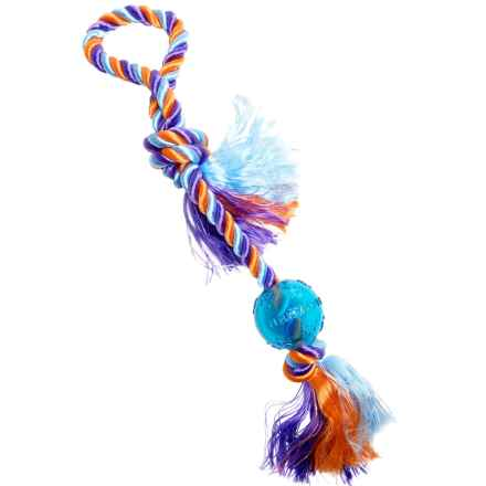 "Mammoth Pet Products Flossy Chews Poly-Dri Tug Rope Dog Toy - 20"" in Blue Ball/Multi - Closeouts"