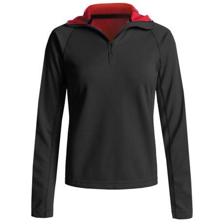 Mammut Outline Pullover Hooded Sweater - Fleece, Zip Neck (For Women) in Black