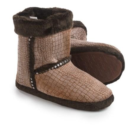 M&F Western Croco Print Plush Slipper Boots (For Women) in Brown