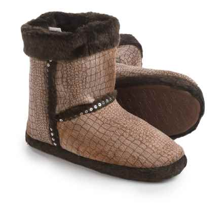 M&F Western Products, Inc. Croco Print Plush Slipper Boots (For Women) in Brown - Closeouts