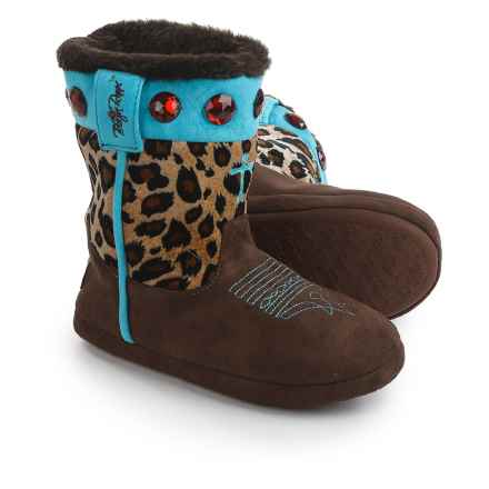 M&F Western Products, Inc. M&F Western Cross Slipper Boots (For Little and Big Girls) in Leopard - Closeouts