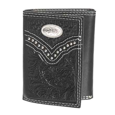 M&F Western Products, Inc. Nacona Trifold Embossed Wallet - Leather (For Men) in Black - Closeouts