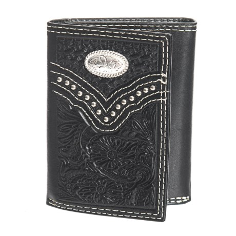 M&F Western Products, Inc. Nacona Trifold Embossed Wallet - Leather (For Men) in Black