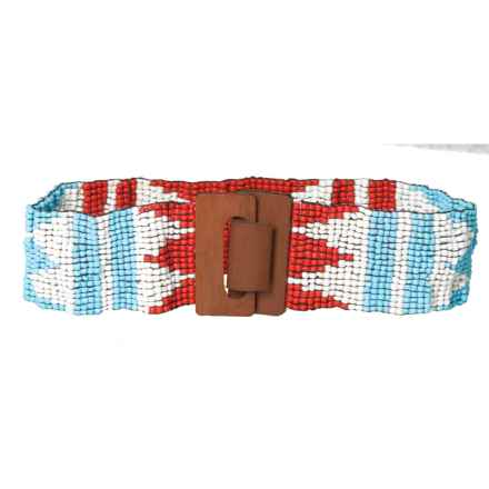 M&F Western Products, Inc. Wide Beaded Stretch Belt (For Women) in Blue/Coral - Closeouts