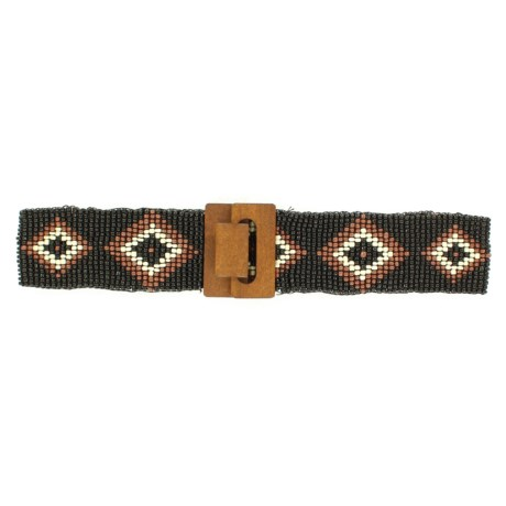 M&F Western Products, Inc. Wood Beaded Stretch Belt (For Women) in Black/Brown