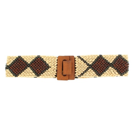 M&F Western Products, Inc. Wood Beaded Stretch Belt (For Women) in Natural/Brown