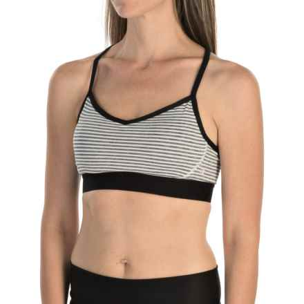 Manduka Keyhole Racerback Sports Bra - Medium Impact (For Women) in Grey/White Stripe - Closeouts