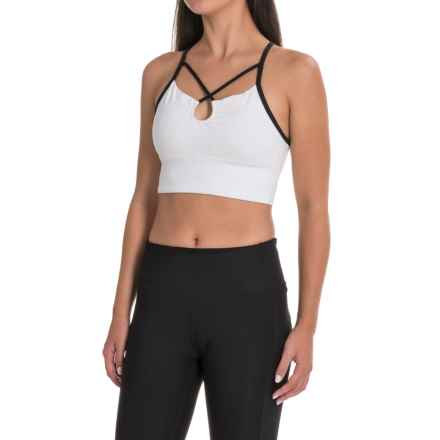 Manduka Luminous Sports Bralette - Medium Impact (For Women) in White/Black - Closeouts