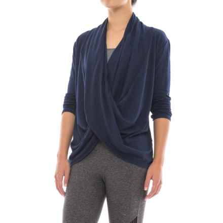 Manduka Twist-Front Shirt - Organic Cotton, Long Sleeve (For Women) in Midnight - Closeouts