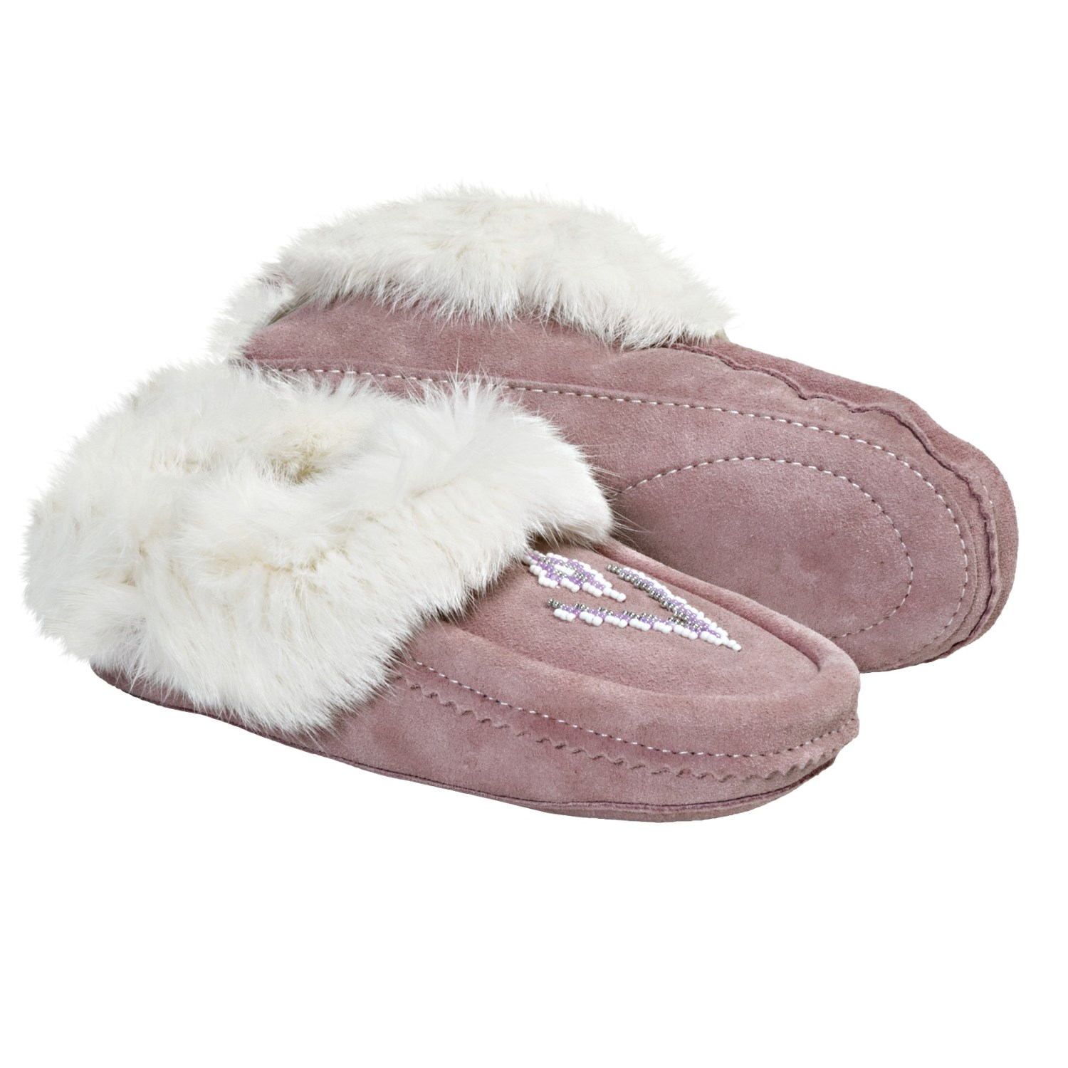 Suede Moccasin Slippers - Shearling-Lined, Rabbit Fur Trim (For Women