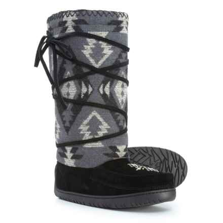 Manitobah Mukluks Wool Lace-Up Mukluks (For Women) in Black - Closeouts