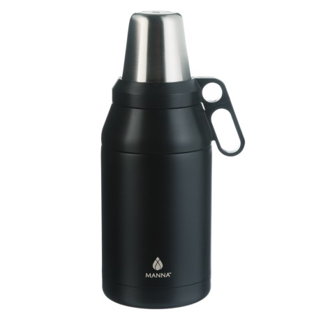 Manna Stack Growler with 4 Cups - 64 oz., Stainless Steel, Insulated in Onyx