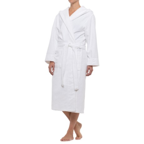 Mansfield Hotel & Spa Hooded Terry-Lined Plush Robe - Long Sleeve (For Women) in White
