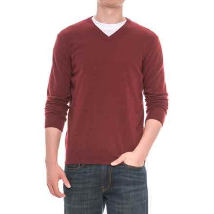 Mantovani Studios Mantovani Studio Cashmere Sweater - V-Neck (For Men) in Merlot - Closeouts