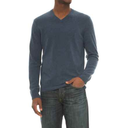 Mantovani Studios Mantovani Studio Cashmere Sweater - V-Neck (For Men) in Navy Melange - Closeouts