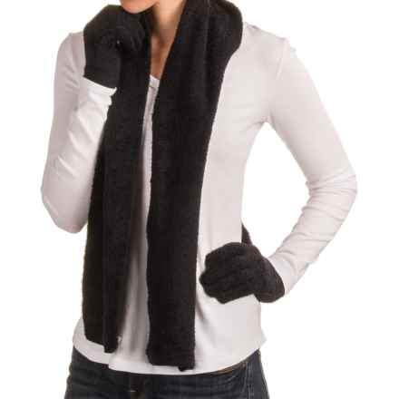 Manzella Aloe Gloves and Scarf Set (For Women) in Black - Closeouts