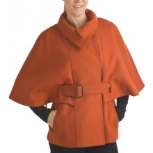 Marc New York by Andrew Marc Aerial Capelet - Textured Wool (For Women) in Burnt Orange - Closeouts