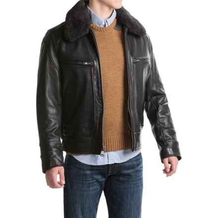 Marc New York by Andrew Marc Carmine II Aviator Jacket - Distressed Leather (For Men) in Black - Closeouts