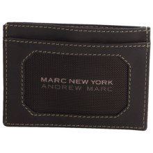 Marc New York by Andrew Marc Flat Card Carrier Wallet - Tumbled Leather in Brown - Closeouts