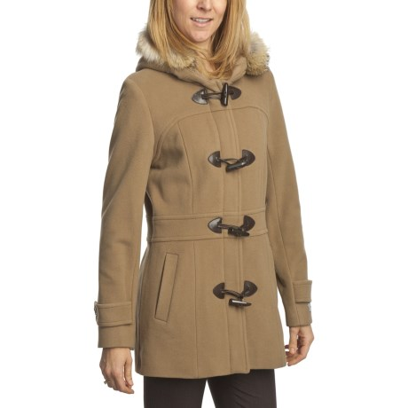 Marc New York by Andrew Marc Italian Plush Duffle Coat - Wool Blend (For Women) in Camel