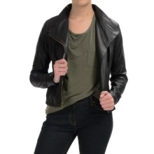 Marc New York by Andrew Marc Knit-Inset Leather Jacket (For Women) in Black - Overstock