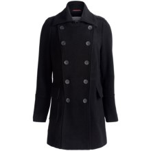 Marc New York by Andrew Marc Precise Plush Pea Coat - Wool Blend, Double-Breasted (For Women) in Black - Closeouts