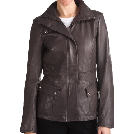 Marc New York by Andrew Marc Scuba Jacket - Distressed Leather, Quilted Insets (For Women) in Anthracite