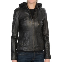 Marc New York by Andrew Marc Vera Hooded Jacket - Vintage Washed, Leather (For Women) in Black