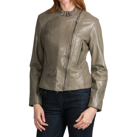 Marc New York Giselle Distressed Leather Jacket (For Women) in Stone