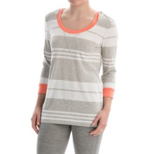 Marc New York Performance Stripe Hooded T-Shirt - 3/4 Sleeve (For Women) in Papaya Combo - Closeouts