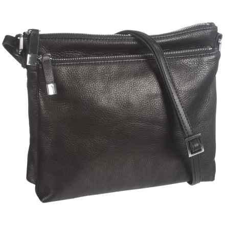 Margot Accordion Crossbody Bag - Leather (For Women) in Black - Closeouts