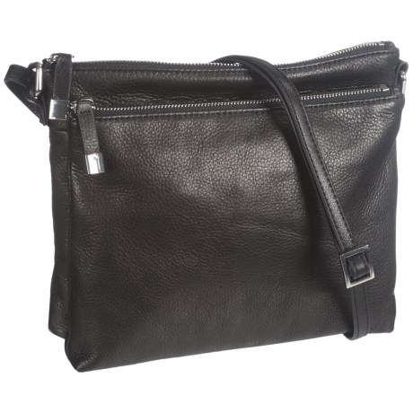 Margot Accordion Crossbody Bag - Leather (For Women) in Black