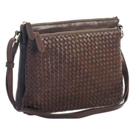 Margot Accordion Crossbody Bag - Leather (For Women) in Dark Brown - Closeouts